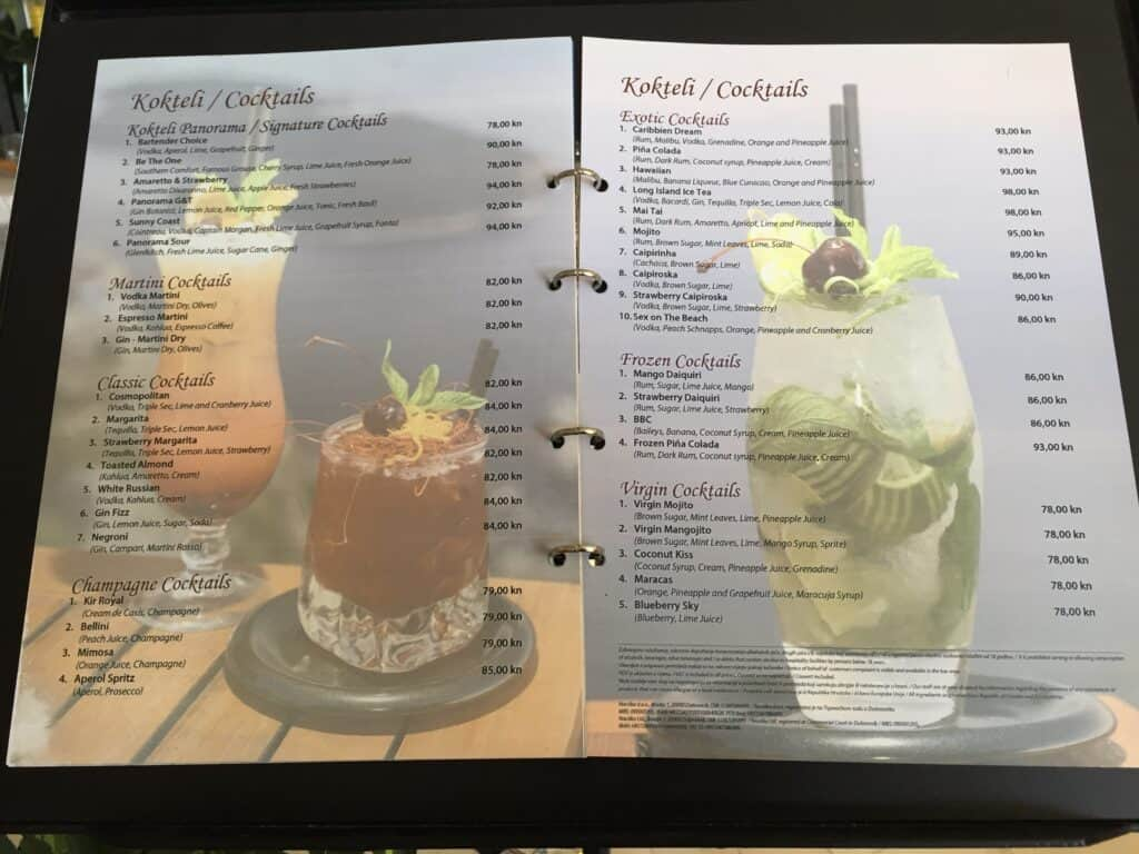 Cocktail kort fra Panorama Restaurant Dubrovnik